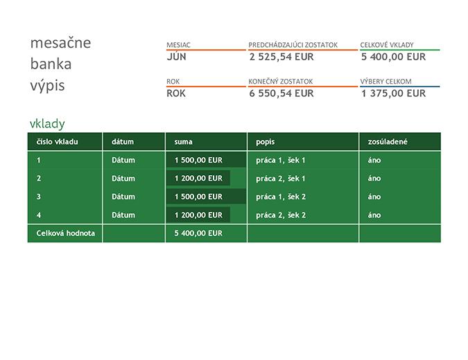 Mesačné bankové zosúladenie
