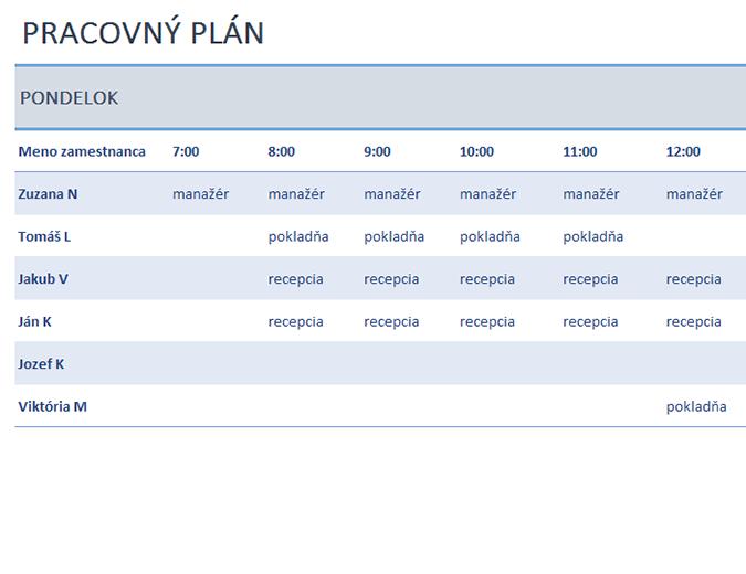 Týždenný pracovný plán zamestnancov