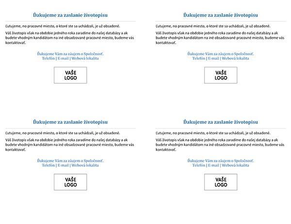Oznámenie pre uchádzačov oprácu po obsadení pracovného miesta (4 ks na strane)