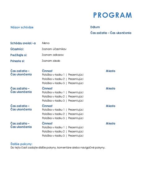 Program celodennej schôdze (formálny)