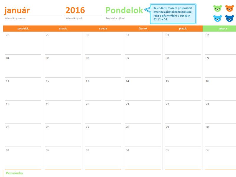 Mesačný kalendár na ľubovoľný rok (12 strán, návrh smotívom medvedíkov vdúhových farbách)