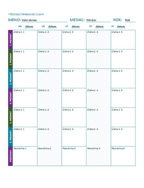 Týždenný hárok spriradenými úlohami (farebný)