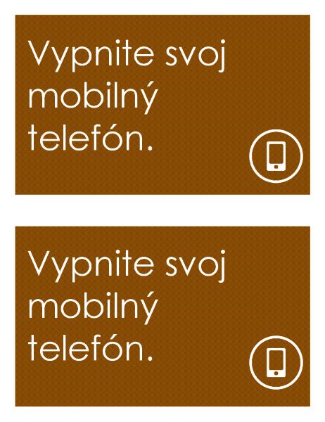 Ceduľa so zákazom používania mobilného telefónu (2 na stranu)