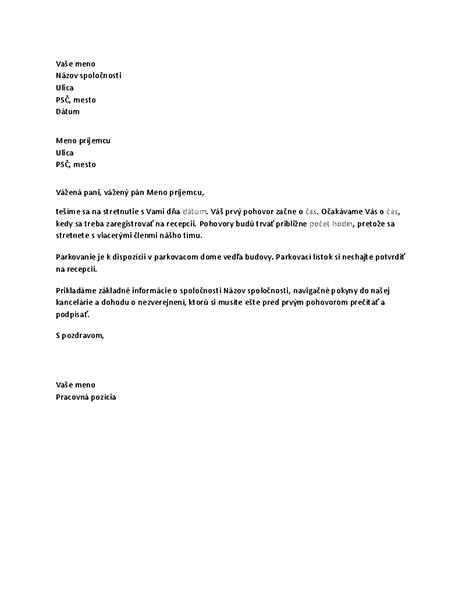List potvrdzujúci pozvanie uchádzača na pracovný pohovor