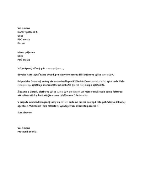 Žiadosť oúhradu omeškanej platby