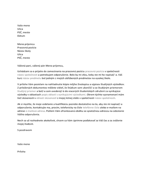 List profesorovi so žiadosťou o odporučenie na pracovnú pozíciu
