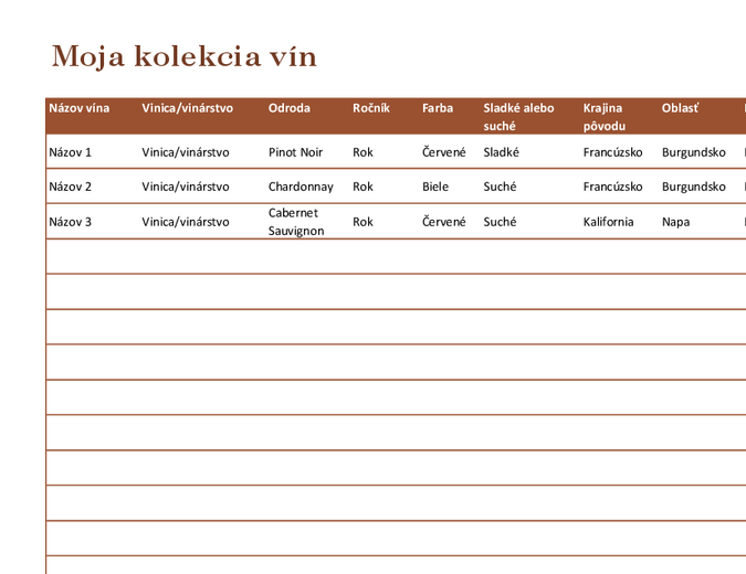 Zoznam kolekcie vín