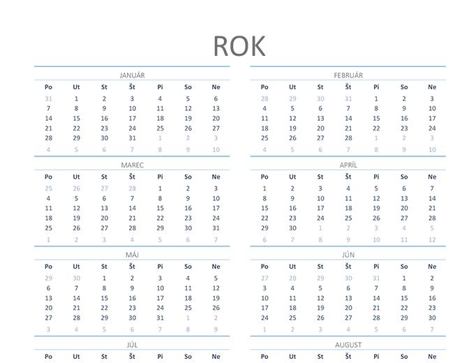 Nekonečný kalendár (pondelok až nedeľa)