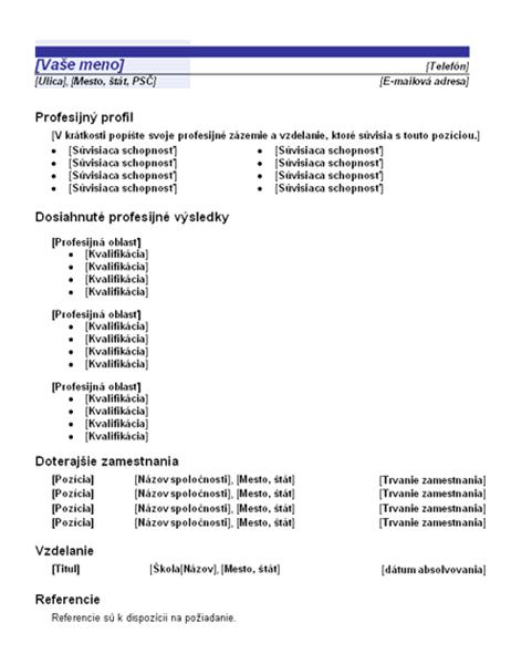 Funkčný životopis (dizajn Modrá čiara)