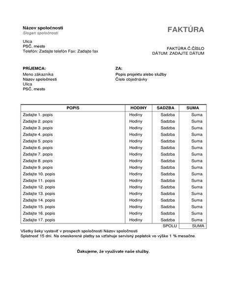 Faktúra za služby s hodinami a sadzbou