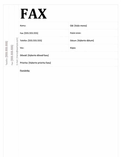 Úvodná strana faxu (akademický vzhľad)