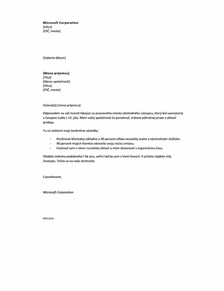 Sprievodný list odpovede na inzerát, krátky