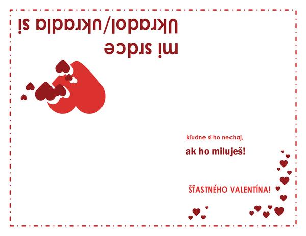 Pohľadnica ku Dňu svätého Valentína (motív srdca, zložená na štvrtiny)
