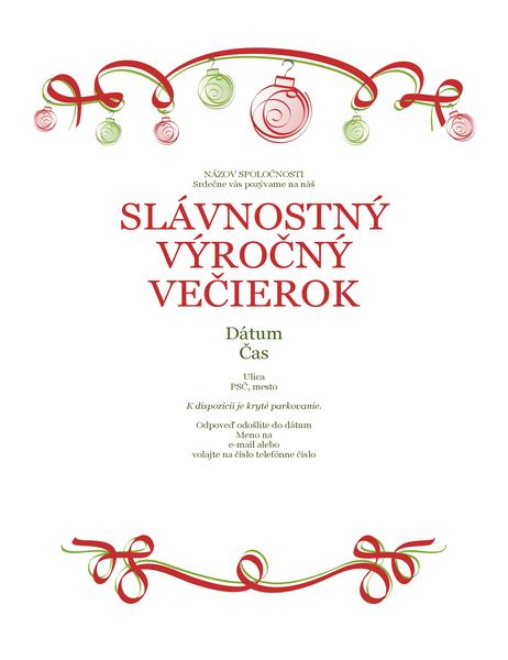 Pozvánka na prázdninovú oslavu s ozdobami a červenou stuhou (formálny návrh)