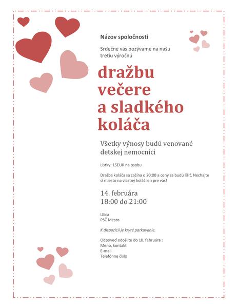 Pozvánka na valentínsku dražbu sladkého koláča