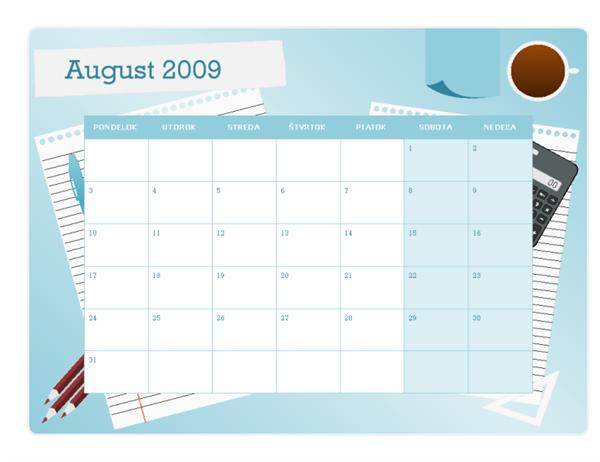 Vysokoškolský kalendár na rok 2009/2010 (od augusta po august, pondelok až nedeľa)