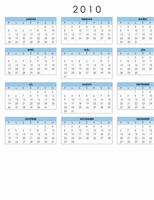 Kalendár na rok 2010 (pondelok až nedeľa, 1-stranový, formát na šírku)