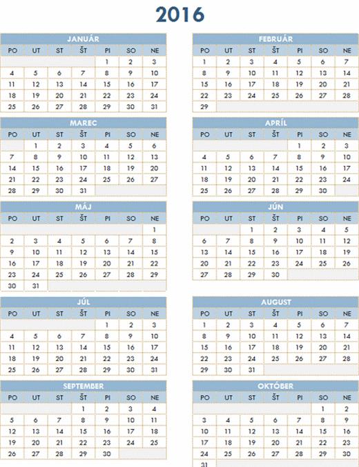 Kalendár na roky 2016 – 2025
