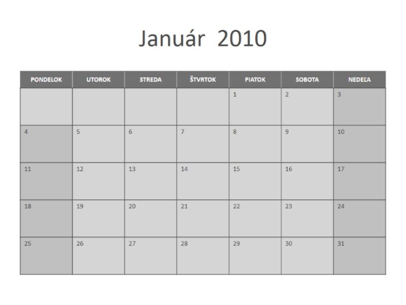 Kalendár na rok 2010