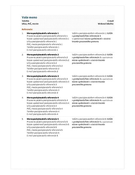 Referenčný list kštruktúrovanému životopisu