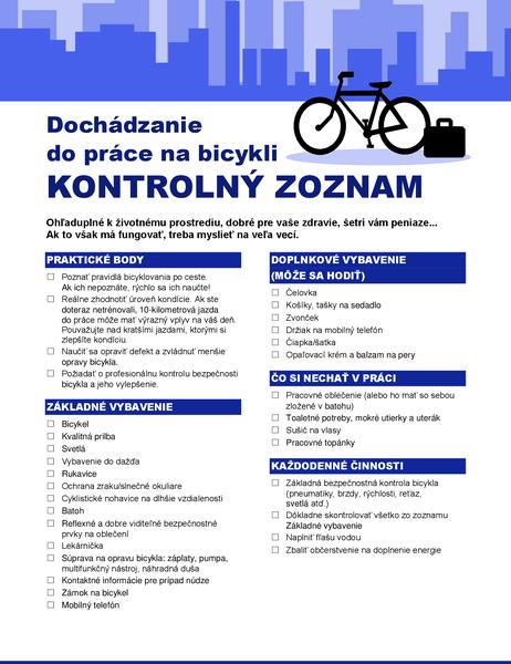Kontrolný zoznam pre dochádzanie na bicykli