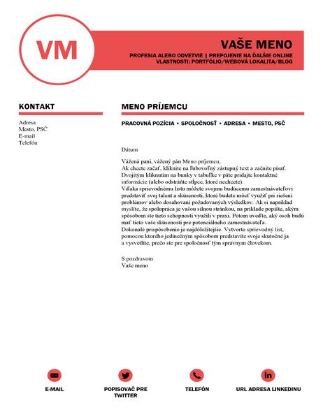 Elegantný sprievodný list zdielne spoločnosti MOO