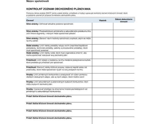 Kontrolný zoznam obchodného plánovania