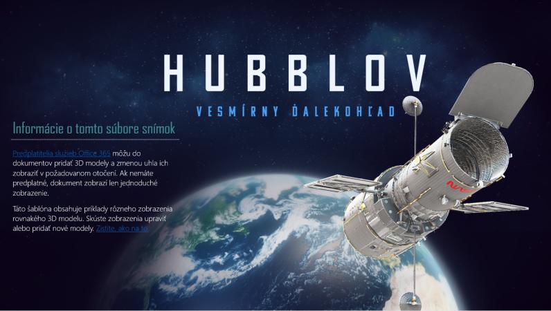 3D powerpointová prezentácia (model Hubblovho ďalekohľadu)