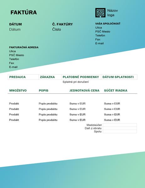 Faktúra za služby (návrh so zeleným prechodom)