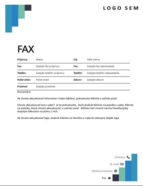 Titulná strana faxu smodrými schodíkmi