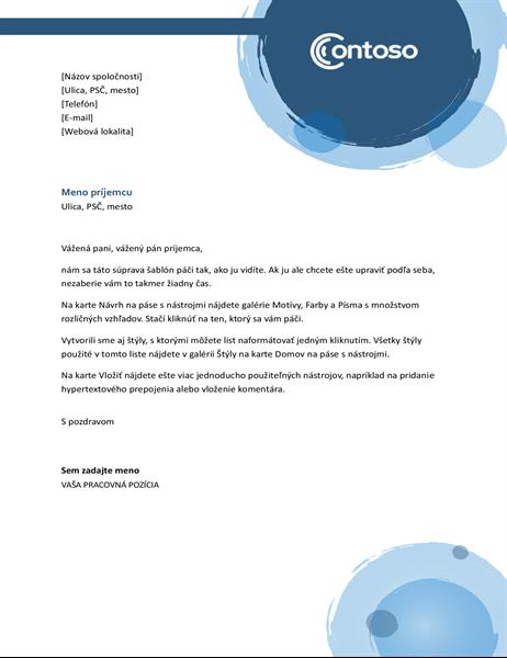 Hlavičkový papier s modrými kruhmi