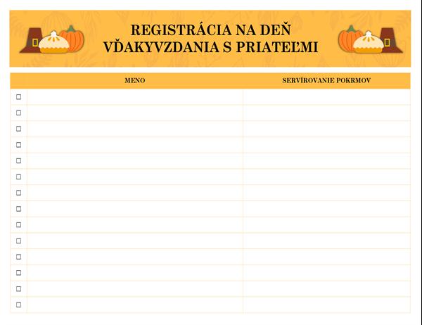 Deň vďakyvzdania spriateľmi – registrácia