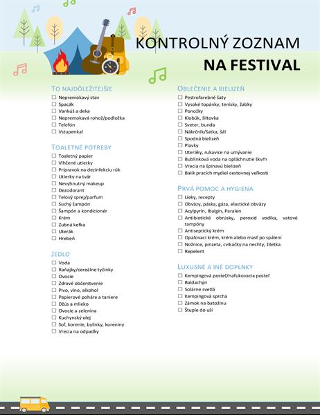Kontrolný zoznam na festival