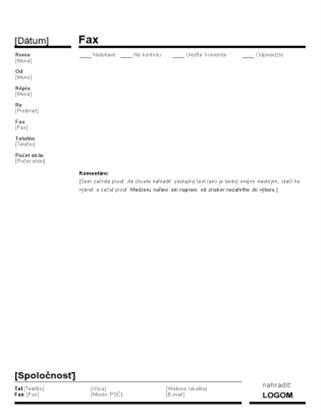 Titulná strana podnikového faxu