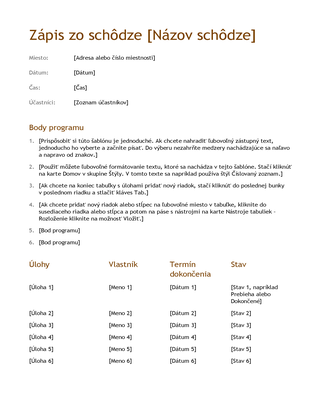 Zápis zo schôdze (jednoduchý)