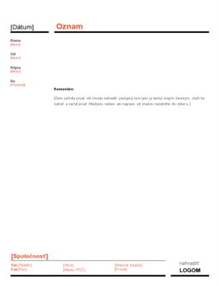 Podnikový oznam (červeno-čierny návrh)