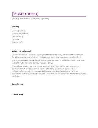 Motivačný list kživotopisu (fialový)