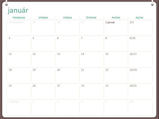 Kalendár na rok 2018 (pondelok až nedeľa, návrh sdvoma krúžkami)