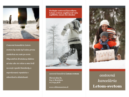 Trikrát preložená cestovná brožúra (červený a sivý návrh)