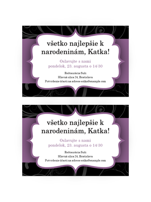 Pozvánka na večierok (návrh s fialovou stužkou)