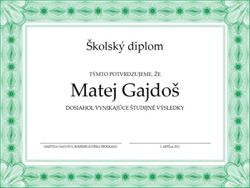 Školský diplom (sformálnym zeleným orámovaním)