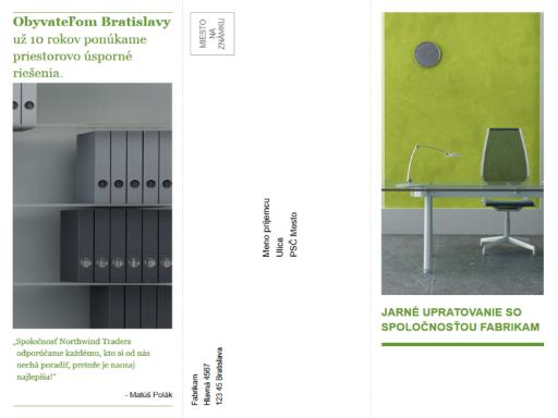 Trikrát preložená obchodná brožúra (zelený ačierny návrh)