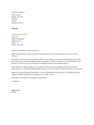 Sprievodný list funkčného životopisu (hodí sa k funkčnému životopisu)
