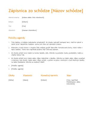 Zápisnica zo schôdze (návrh v oranžovej farbe)