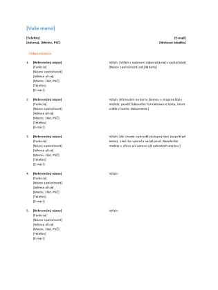 Zoznam odporúčaní pre životopis (funkčný návrh)