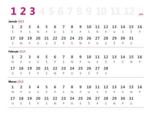 Štvrťročný kalendár na rok 2015