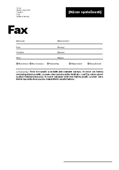 Titulná strana faxu (pracovný motív)
