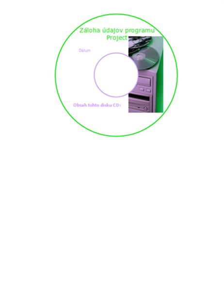 Štítok disku CD na zálohovanie údajov