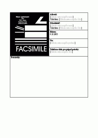 Titulná strana firemného faxu