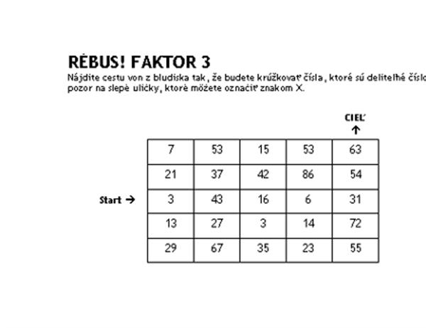Úroveň 1 – číselný rébus, faktor 3